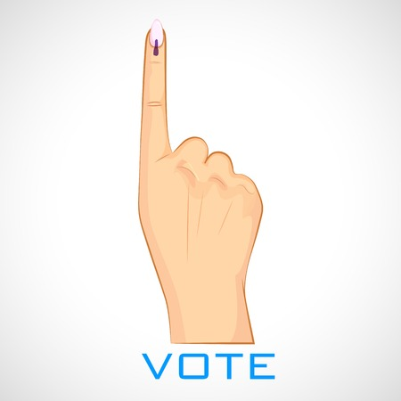 illustration of hand with voting sign of India Illustration