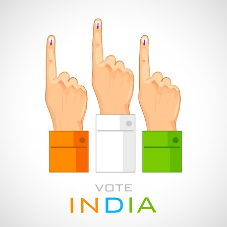 prime adult: illustration of hand with voting sign of India Illustration
