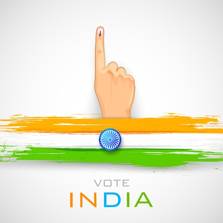 illustration of hand with voting sign of India Ilustrace