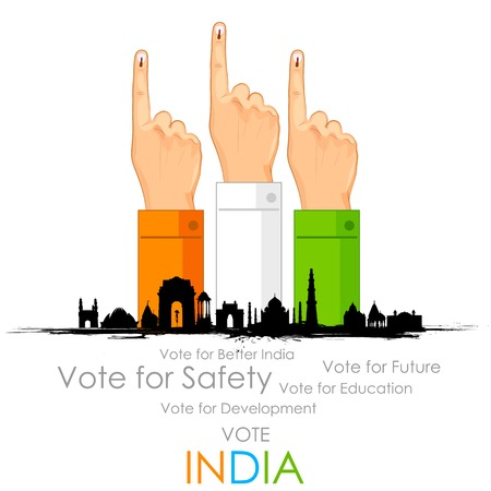 vote: illustration of hand with voting sign of India Illustration