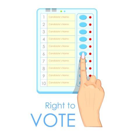 Demokratie: Illustration von Hand dr�cken Elektronische Wahlurne in Indien Illustration