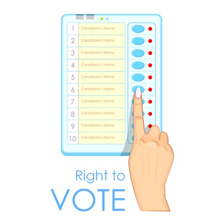 democracia: ilustraci�n de la mano presionando M�quina de voto electr�nico en la India Vectores