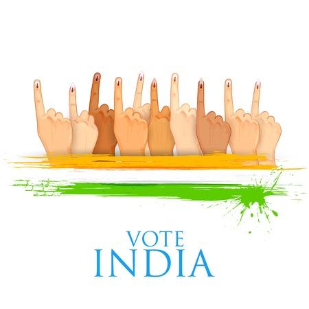 インドの印を投票で手の図