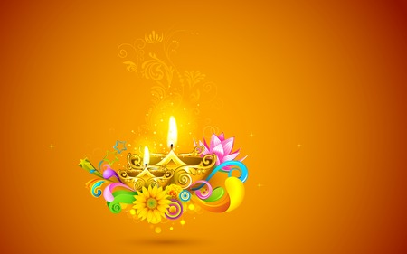 illustration of burning diwali diya on abstract background