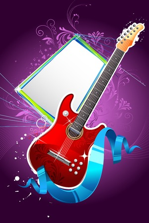 grungy background: illustration of guitar with floral pattern on abstract grungy background