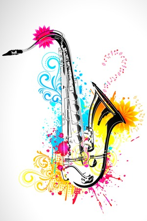 illustration of saxophone on abstract floral background Vector