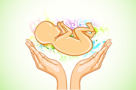 embryo growth: illustration of hand holding female fetus on abstract floral background Illustration