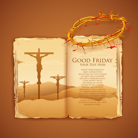 llustration of Jesus Christ on cross on Good Friday Bible Vector