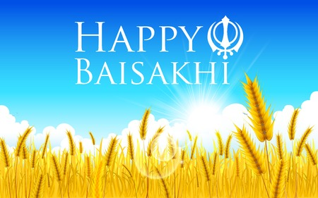 barley field: illustration of Happy Baisakhi background with paddy field Illustration