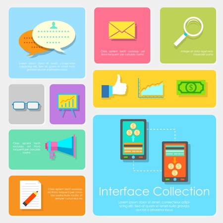 interface design: illustration of Flat Interface Design Collection Illustration