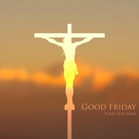 in good spirits: illustration of Jesus Christ crucifixion on Good Friday Illustration