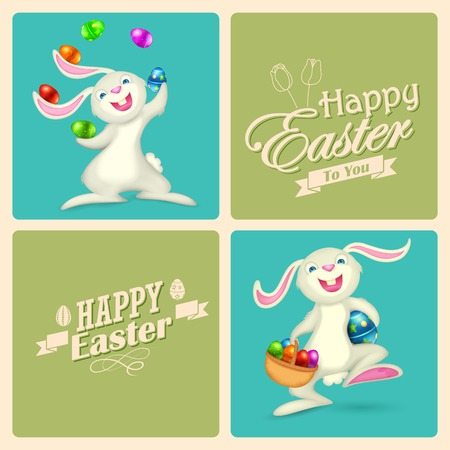 illustration of Easter bunny with colorful egg Vector