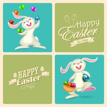 pasqua cristiana: Illustrazione del coniglietto di Pasqua con uovo colorato