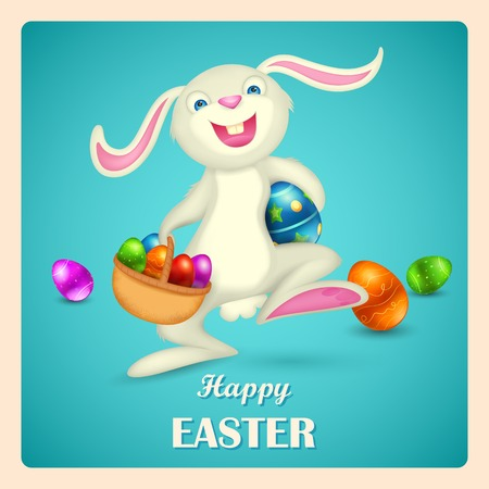 christian festival: illustration of Easter bunny holding basket with colorful egg Illustration