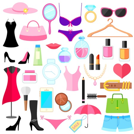 illustration of set of flat fashion object Vector