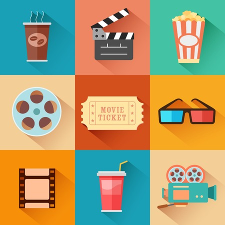 movie clapper: illustration of flat style movie and film icon set