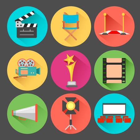 illustration of flat style movie and film icon set Vector