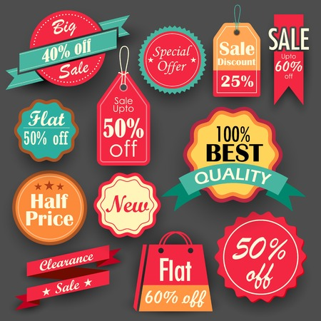 clearance sale: illustration of different sale and discount tags in flat style for promotion