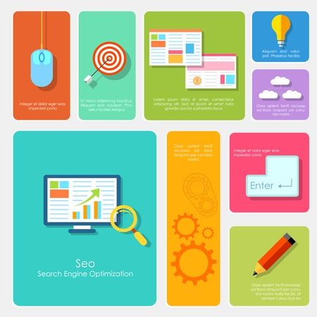 seo: illustration of SEO concept in flat style