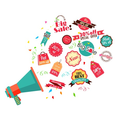 discount tag: illustration of different sale and discount tags coming out of bullhorn Illustration