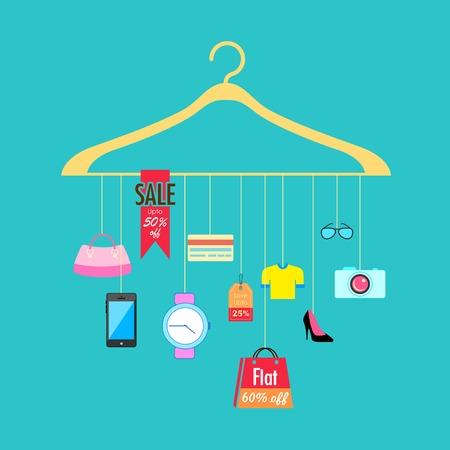 sale off: illustration of hanging from hanger showing sale Illustration