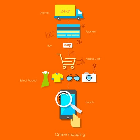 illustration of online shopping pictogram Vector