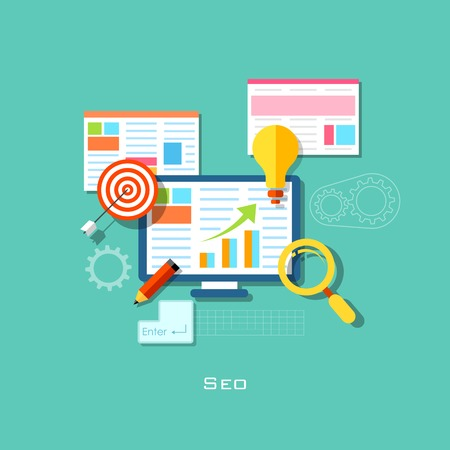 website traffic: illustration of SEO concept in flat style