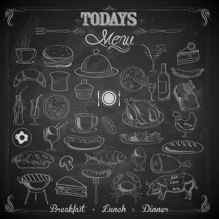 甘い食べ物: さまざまな食品の項目のメニュー チョーク ボードでの図