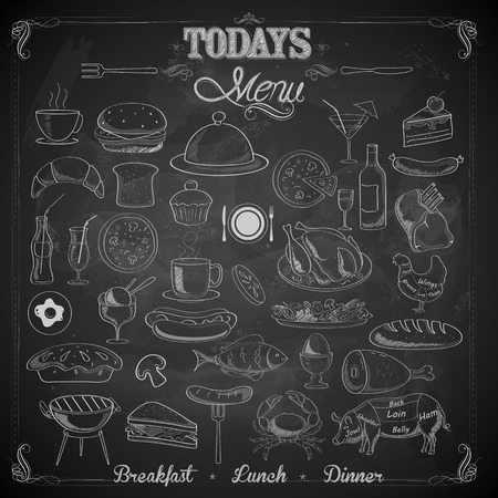 cuisine: illustration of different food item in menu chalk board Illustration