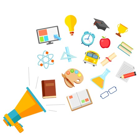 successful student: illustration of education icon in flat style coming out of megaphone