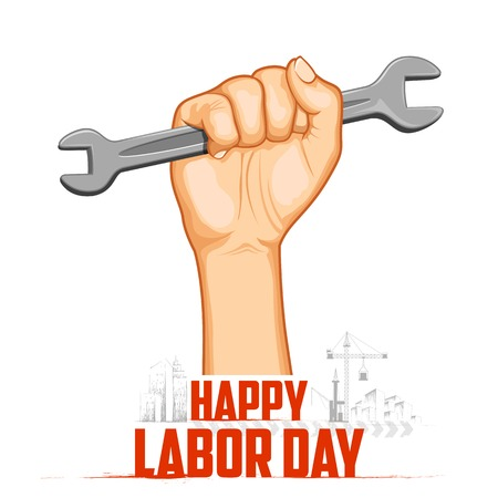 jornada de trabajo: Ilustraci�n del concepto del D�a del Trabajo con el hombre la celebraci�n de una llave