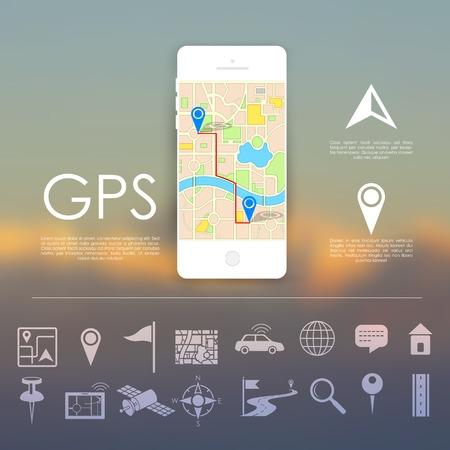 navegacion: Ilustración del icono de navegación establecida para la aplicación GPS