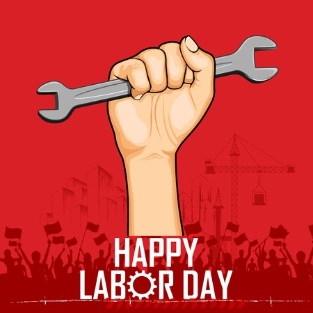 factory workers: illustration of Labor Day concept with man holding wrench