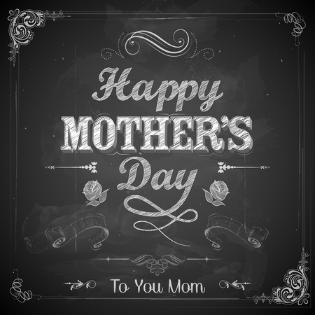 mothering: illustration of Happy Mothers Day card in retro style