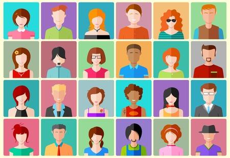 character design: Ilustraci�n de coloridos plana gente icono del dise�o Vectores