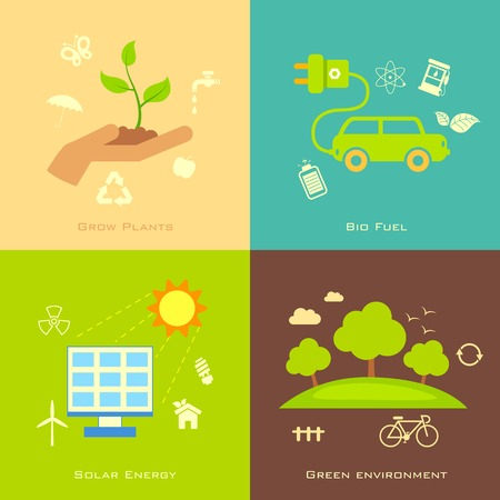 illustration of Ecology concept in flat style Vector