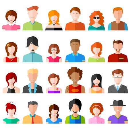 カラフルなフラットなデザインの人々 のアイコンの図  イラスト・ベクター素材