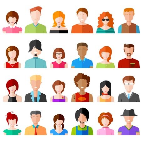 profil: Ilustracja kolorowe płaskiej ikona osób Ilustracja