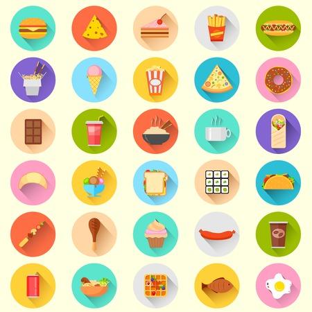 Ilustracja z płaską szybką ikony żywności