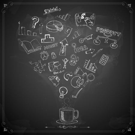 illustration of business doodle on chalkboard Vector
