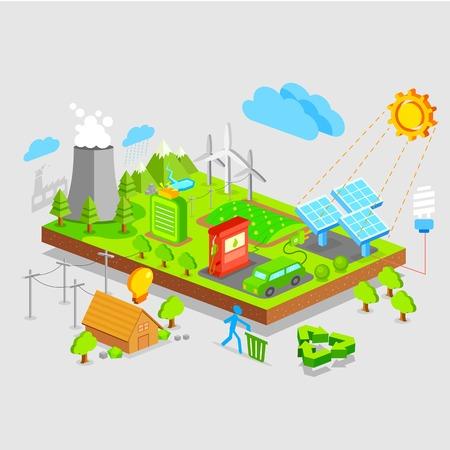 recursos naturales: Ilustración del concepto de tierra verde en vista isométrica