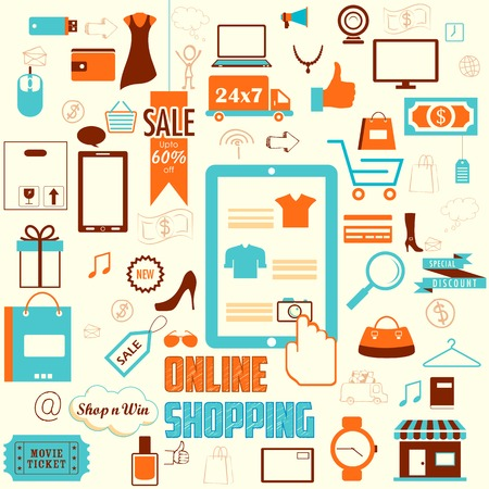 illustration of online shopping concept in retro flat style Vector