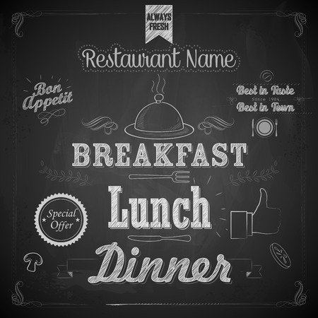 menu board: illustration of menu written on chalkboard