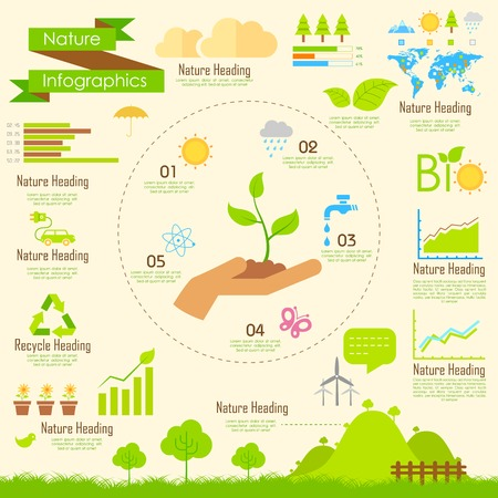 illustration of Nature infographics in flat style Ilustração