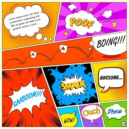 comic background: illustration of colorful comic speech bubble in vector