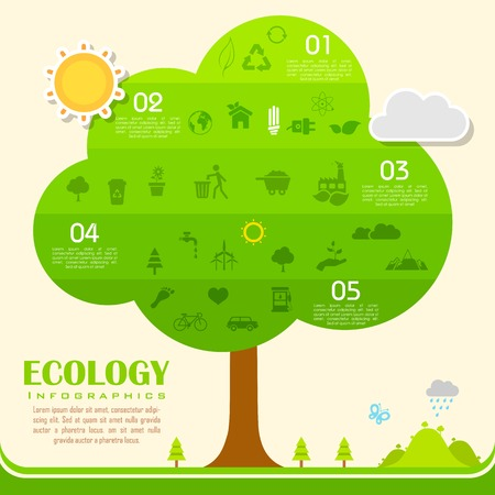 illustration of tree in environmental infographic Vector