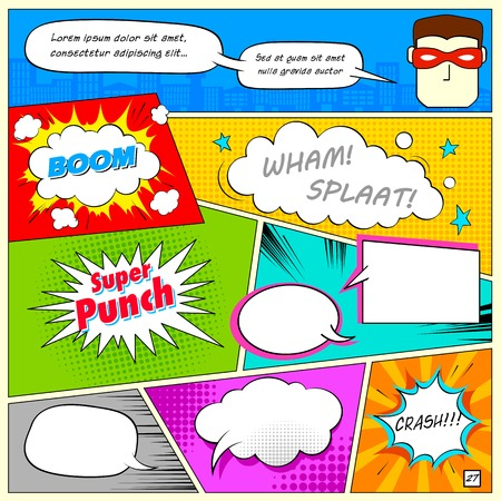bubble background: illustration of colorful comic speech bubble in vector