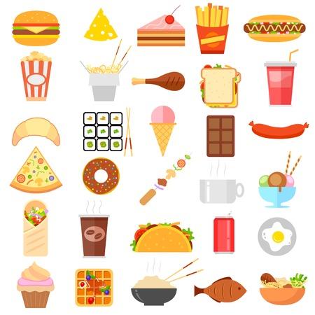 Illustration der flachen Fast-Food-Symbol auf weißem Hintergrund