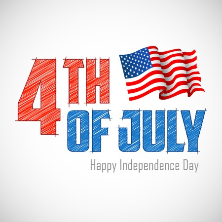 american flag waving: illustration of 4th of July Background with American flag