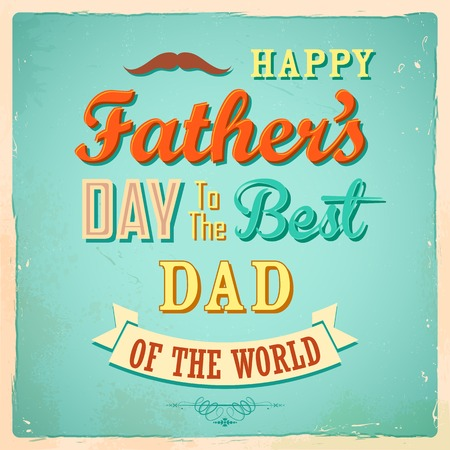illustration of Happy Fathers Day retro background
